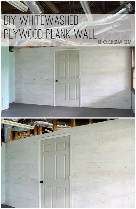 whitewashed plywood plank wall finally starting the