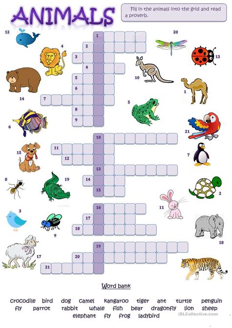 printable puzzles of animals animal picture crossword worksheet free esl printable