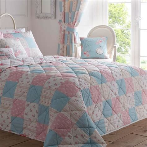 floral patchwork bed throw in pink dreams drapes