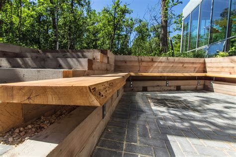 modern outdoor wood bench qualico family centre patio assiniboine park modern outdoor benches other metro