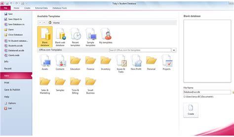 microsoft access 2010 creating databases using database templates