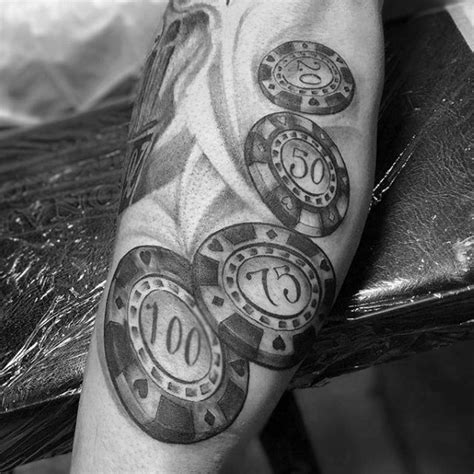 poker chip tattoo 40 chip designs for masculine ink ideas