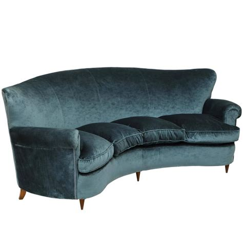 vintage curved sofa italian mid century 1950s vintage curved blue velvet sofa with cushions for sale at 1stdibs