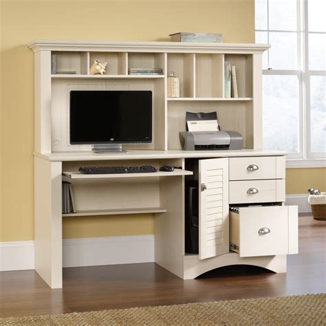 white desk with storage white wooden computer desk with hutch beside the