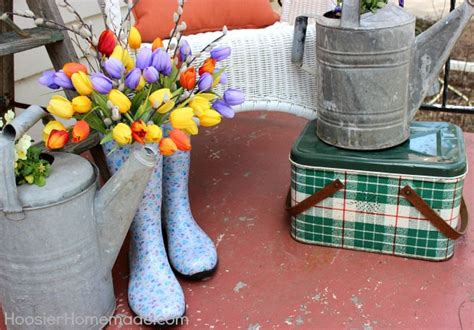Small Front Porch Decor Spring Front Porch Decorating Hoosier Homemade