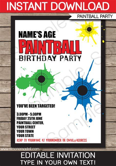 printable birthday invitations paintball paintball party invitations birthday party template