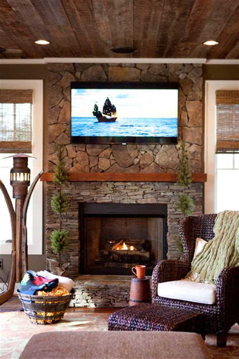 hunting lodge rustic living room raleigh by chi