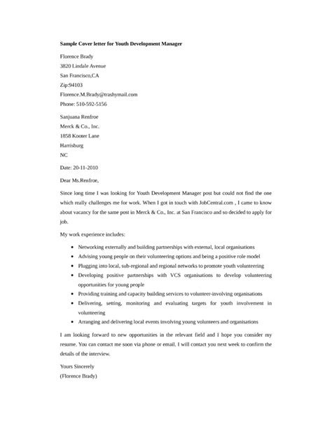 basic youth development manager cover letter sles and