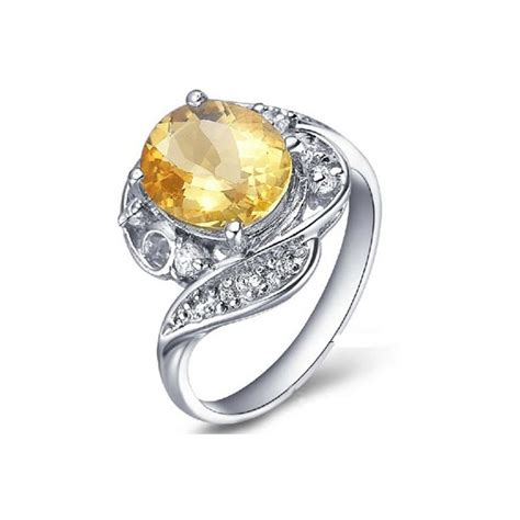2 5 carat citrine gemstone engagement ring on silver