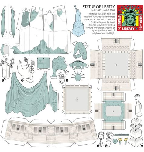 How To Make Papercraft Models - statue of liberty paper miniature paper dolls paper