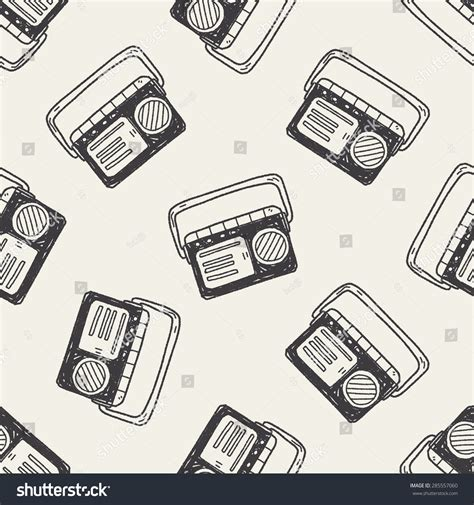doodle radio doodle radio seamless pattern background stock vector
