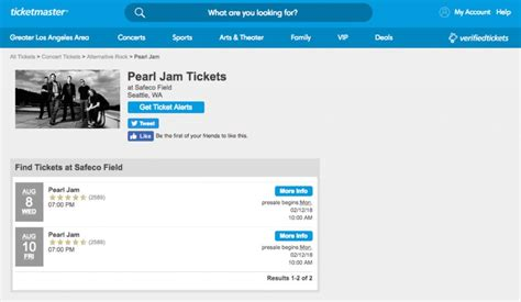 ticketmaster verified fan code ticket shopping guide pearl jam live in seattle