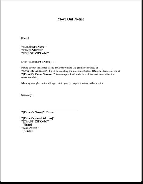 Letter To Landlord Moving Out The Best Resume Moving Notice Template