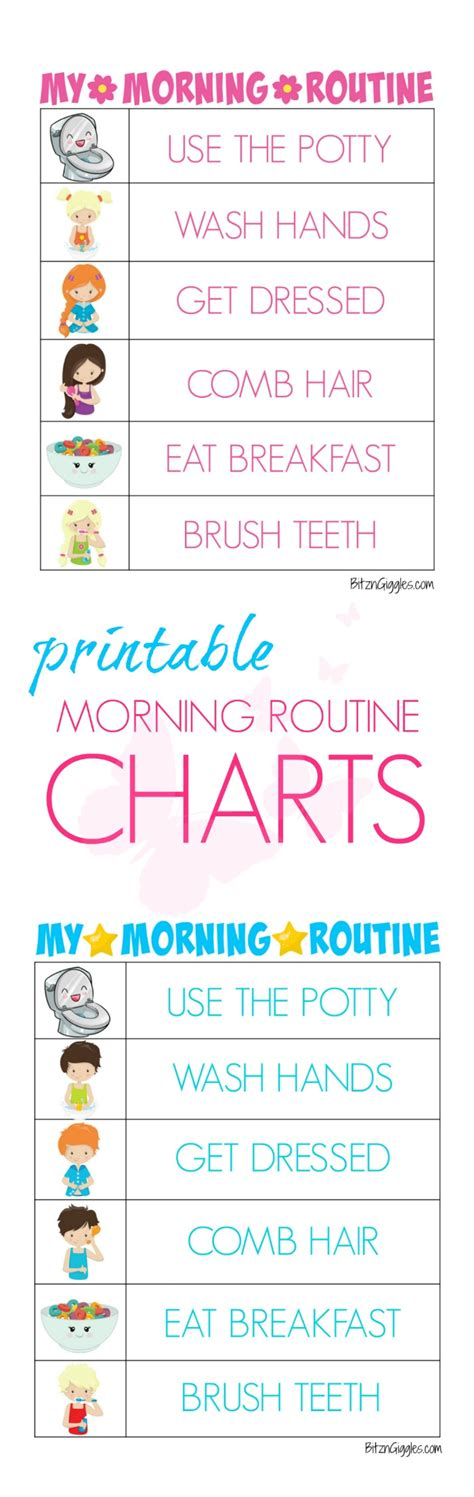 printable toddler routine printable morning routine charts free printable kids
