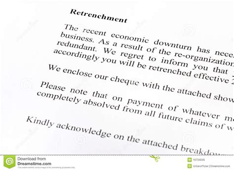 Business Closing Letter Employees South Africa Retrenchment Letter Stock Image Image Of Retrenchment