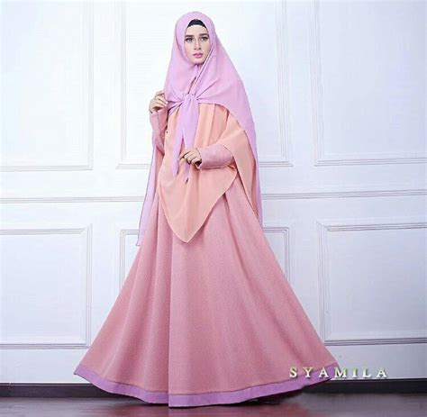 Gamis Muslim Syari Lavender Byk Warna model baju gamis syari setelan modern modis terbaru