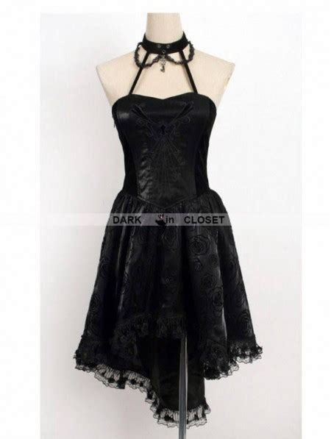 pattern gothic dress punk rave black halter floral pattern high low gothic
