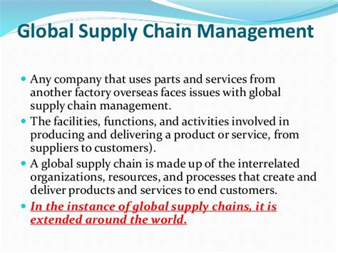 Mba In Global Supply Chain Management by Global Supply Chain Management An Overview
