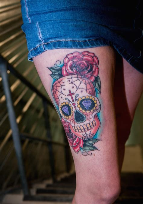 men s sugar skull tattoo thigh sugar skull yeahtattoos