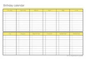 monthly birthday calendar template printable birthday calendar the organised