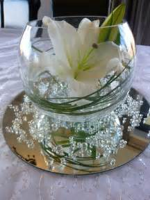 table centrepiece with clear water pearls grass
