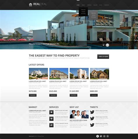 drupal themes overview black and white real estate drupal template 43557