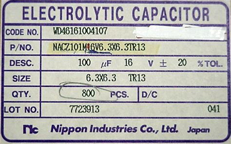 nippon industries capacitor sphere s electronic parts by the foot page