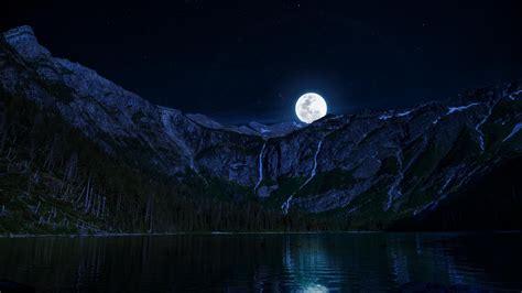 imagenes wallpaper 1366x768 lago lua montanhas noite livre parede do desktop hd