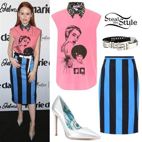 madelaine petsch pink madelaine petsch pink printed top blue striped skirt