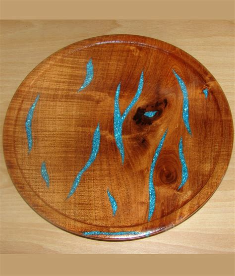 mesquite l with turquoise inlay mesquite wood turquoise inlaid serving platter