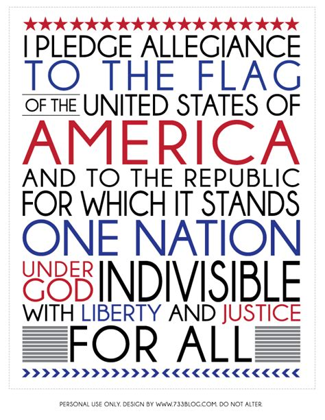 Printable Pledge Of Allegiance