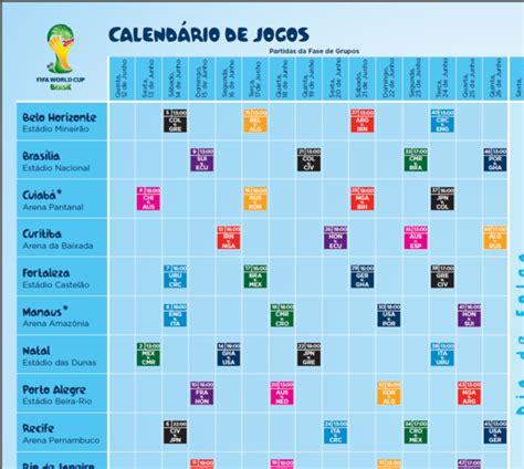 Quando Vai Ser O Próximo Jogo Do Brasil Calend 225 De Jogos Da Copa Do Mundo 2014