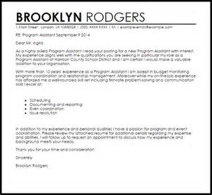 cover letter program assistant program assistant cover letter sle livecareer