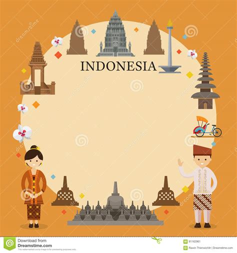 indonesia landmarks people  traditional clothing frame