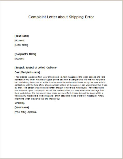 Complaint Letter Format For Wrong Delivery shipping error complaint letters writeletter2