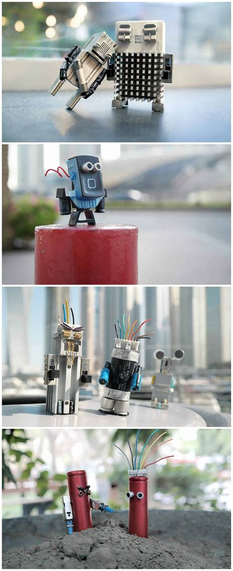 art waste recycled characters electronic