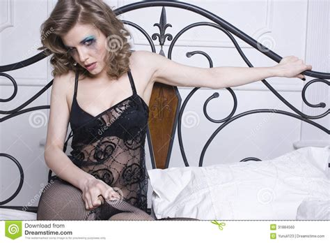 crying in bed crying woman laying in bed stock photo image 31884560