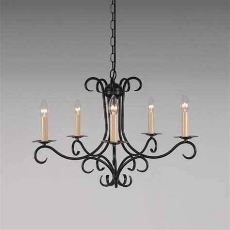 Wrought Iron Candle Chandeliers The Elton 5 Arm Wrought Iron Candle Chandelier Bespoke Lighting Co