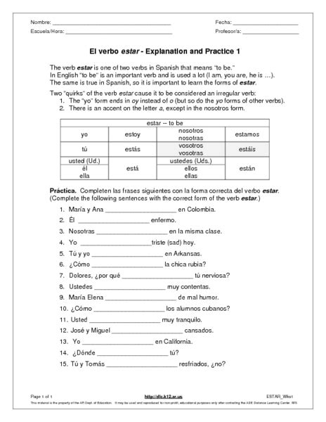 Ser And Estar Worksheet Answers by Estar Worksheet Free Worksheets Library And