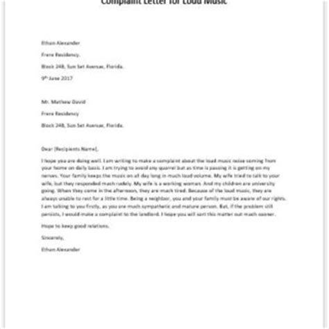 Complaint Letter Loud Neighbors Loud Complaint Letter To Writeletter2