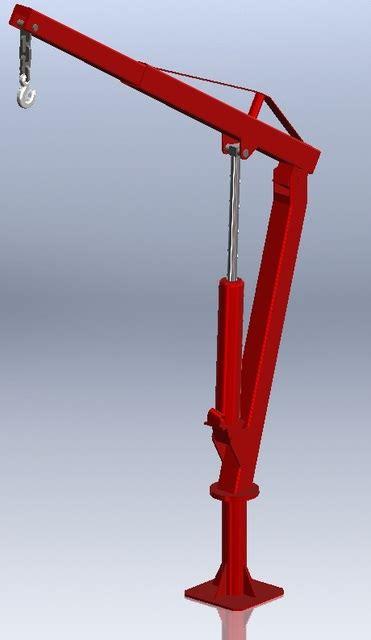 truck bed crane truck bed lift crane solidworks 3d cad model grabcad