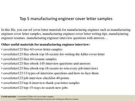 Manufacturing Engineering Cover Letter by Top 5 Manufacturing Engineer Cover Letter Sles