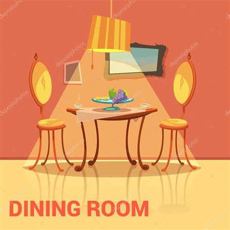 Dining Room Table And 6 Chairs Dining Room Retro Design Stock Vector 169 Macrovector