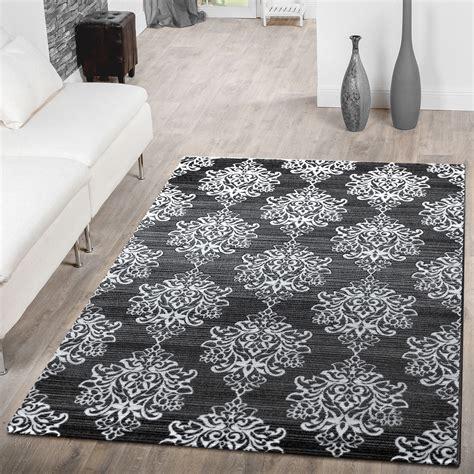teppich grau mit muster teppich wohnzimmer modern floral muster abstrakt meliert