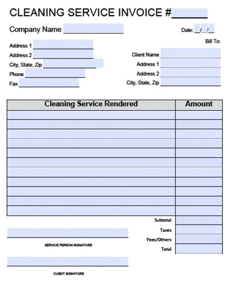 Cleaning Invoice Template Word Invoice Exle Cleaning Service Template Free