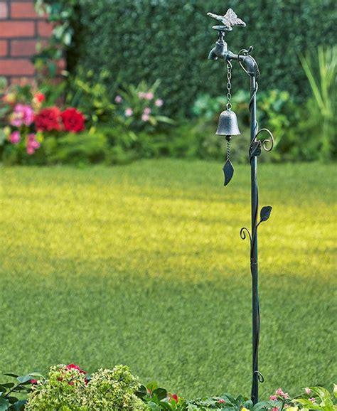 Garden Stakes Decor Butterfly Or Bird Iron Faucet Garden Bell Stakes Garden Decor Garden Stakes Garden Ideas