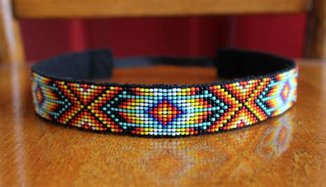 indian beaded headbands multi colored beaded headband with american pattern and