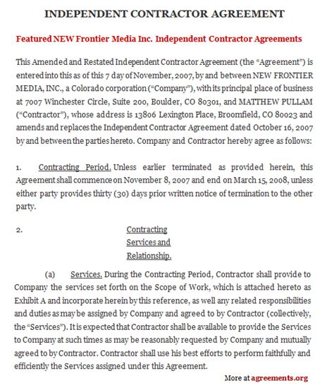 independent contractor agreement sample independent