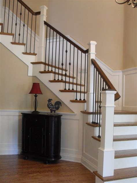 Traditional Staircase Ideas Box Newels Wought Iron Traditional Staircase Portland By Portland Stair Company