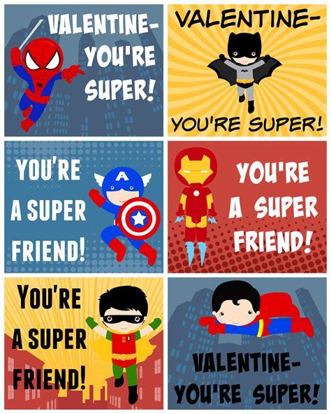 superheroes valentines day free printable valentines free printable